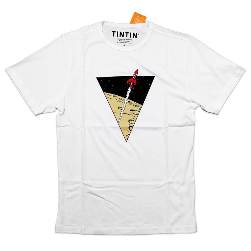 T-SHIRT ENFANT TRIANGLE FUSEE BLANC 001