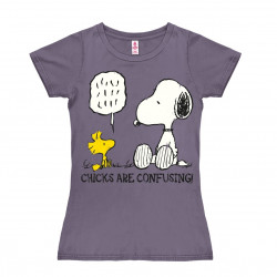 Peanuts - Snoopy & Woodstock - Chicks are Confusing T-Shirt Dame - lavande