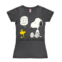 Peanuts - Snoopy & Woodstock - Chicks are Confusing T-Shirt Dame - gris foncé