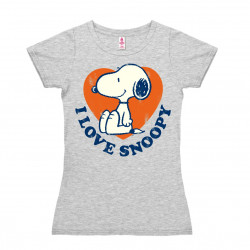 Peanuts - I Love Snoopy T-Shirt Dame - gris