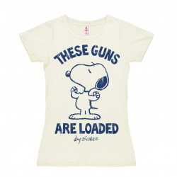 Peanuts - Snoopy - These Guns are Loaded T-Shirt Dame - blanc cassé