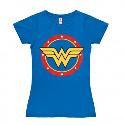 DC Comics - Wonder Woman Logo - Circle T-Shirt Dame - bleu