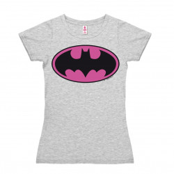 DC Comics - Super-Héro - Batman Logo rose T-Shirt Dame - gris