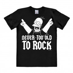 LOGOSHIRT - T-Shirt Homme Homer Simpson - The Simpsons - Never Too Old To Rock - noir