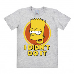 LOGOSHIRT - T-Shirt Homme Bart Simpson - The Simpsons - I Didn't Do It - gris