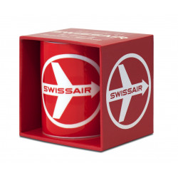 AIRLINES - SWISSAIR - FLY THERE BY SWISSAIR PORCELAINE TASSE - MUG - ROUGE