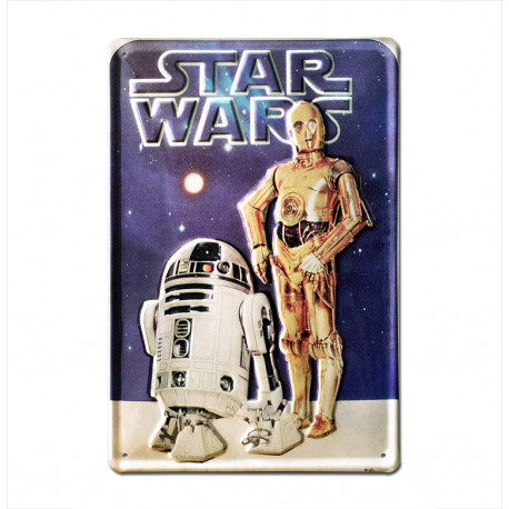Star Wars - R2-D2 & C-3PO Retro - Plaque Métal Vintage Film - 20x30