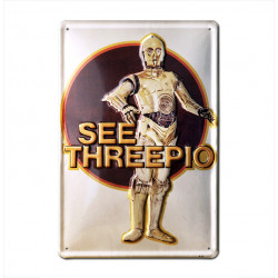 Star Wars - See Threepio - C-3PO Retro - Plaque Métal Vintage Film - 20x30