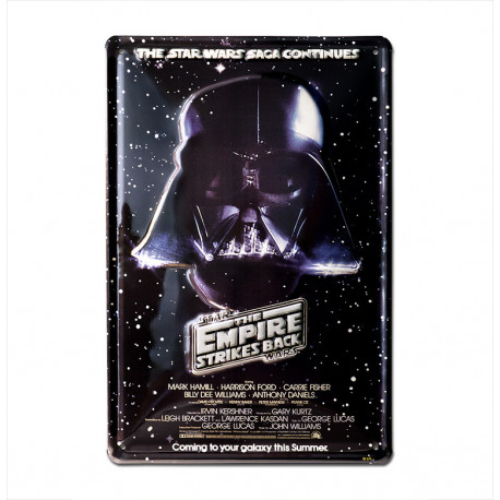 Star Wars - Darth Vador - The Saga Continues Retro - Plaque Métal Vintage Film - 20x30