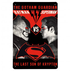 DC Comics - Batman v Superman - The Ultimate Face-Off Retro - Plaque Métal Vintage Comic SuperHéroen - 20x30