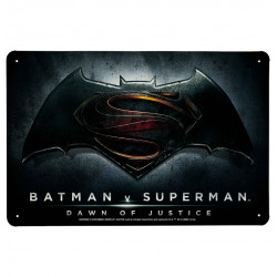 DC Comics - Batman v Superman - Dawn Of Justice Retro - Plaque Métal Vintage Comic SuperHéroen - 30x20