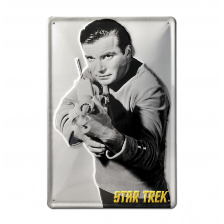 Star Trek - Kirk Shoots Retro - Plaque Métal Vintage Film - 20x30