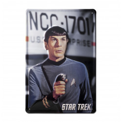 Star Trek - Spock Shoots Retro Spock - Plaque Métal Vintage Film - 20x30