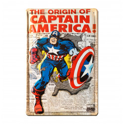 Marvel Comics - The Origin of Captain America Journal Retro - Plaque Métal Vintage Comic SuperHéroen - 20x30