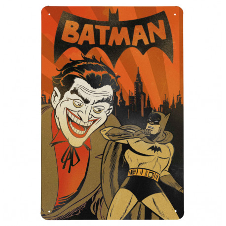 DC Comics - Batman With Joker Retro - Plaque Métal Vintage Comic SuperHéroen - 20x30