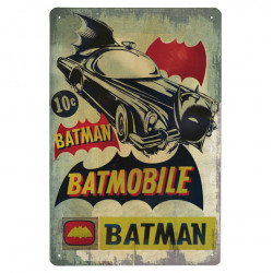 DC Comics - Batman Batmobile Retro - Plaque Métal Vintage Comic SuperHéroen - 20x30