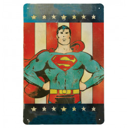 DC Comics - Superman America Retro - Plaque Métal Vintage Comic SuperHéroen - 20x30